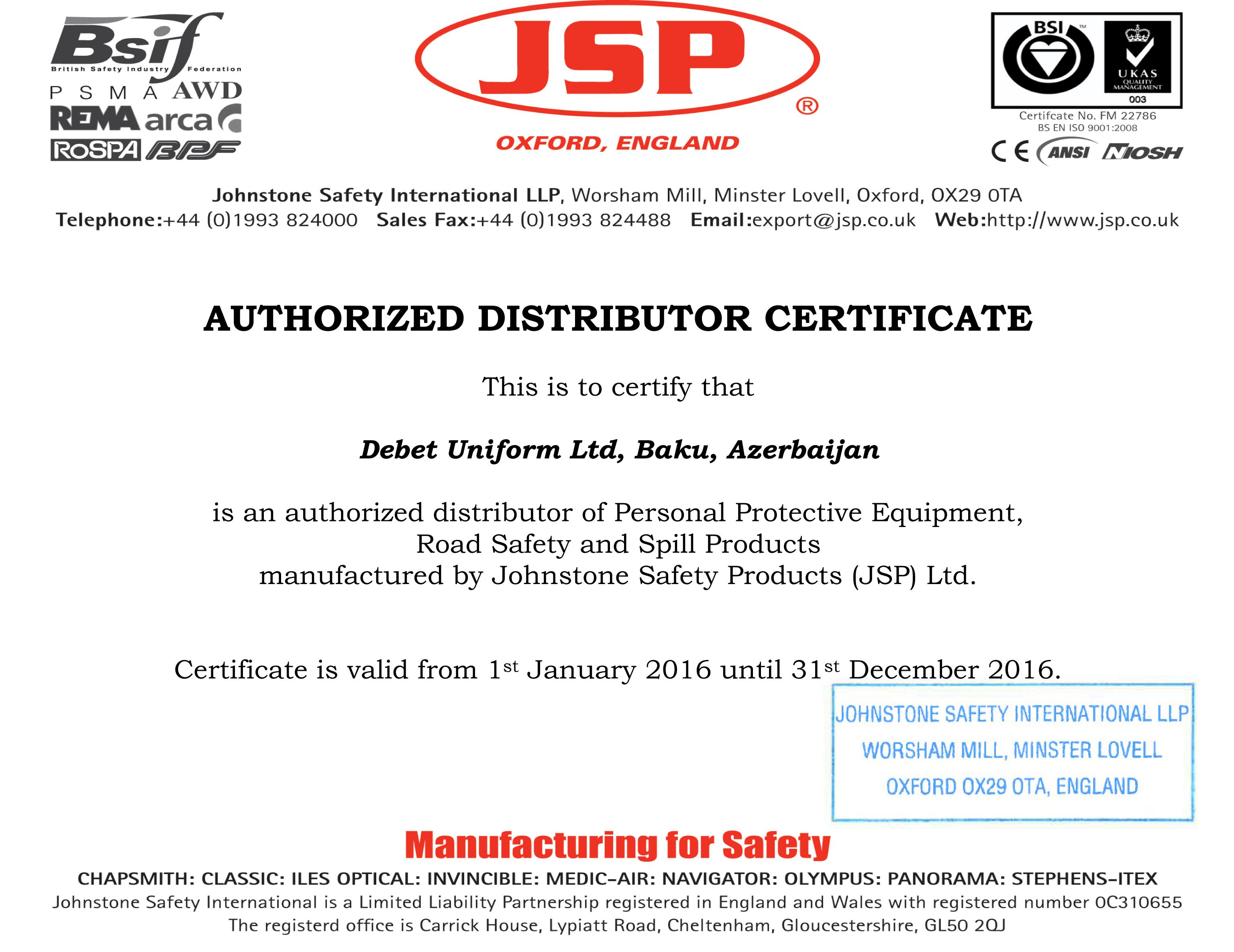 Jsp has prolonged the distributor certificate with debet uniform jsp has prolonged the distributor certificate with debet uniform till the end of 2016 altavistaventures Choice Image