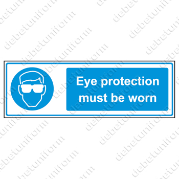 Eye protection must be worn (EN), 300x100 mm rigid PVC safety sign