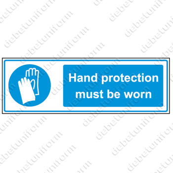 Hand protection must be worn (EN), 300x100 mm rigid PVC safety sign