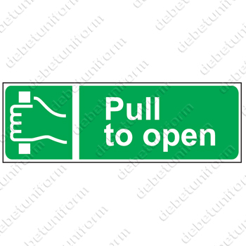 Pull to open (EN), 300x100mm rigid PVC safety sign